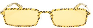 Balenciaga Tiger-print Slim Rectangular Metal Sunglasses - Yellow