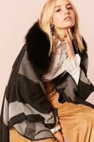 Forever 21 Woven Heart Faux Fur Poncho