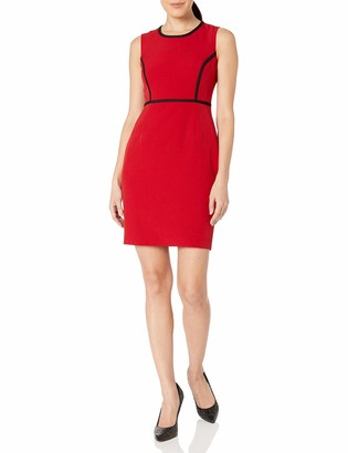 Kasper Women's Plus Size Sleeveless Jewel Neck Sheath Dress with Piping Detail