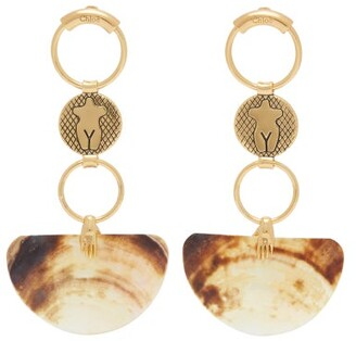 Chloé Emoji Shell-drop Earrings - Womens - Gold