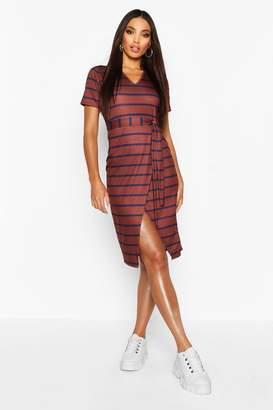 boohoo Stripe V Neck Wrap Belted Midi TShirt Dress