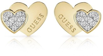 GUESS Gold Tone Crystal Set Double Heart Stud Earrings