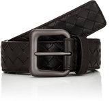 Bottega Veneta Men's Intrecciato Leather Belt-BLACK, DARK BROWN