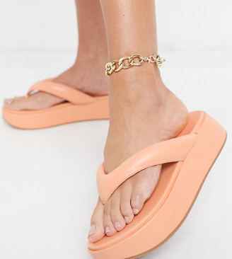 ASOS DESIGN Wide Fit Ferris chunky thong sandals in peach