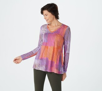 Logo by Lori Goldstein Print Rayon 230 Top with Shaping