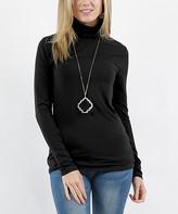 Lydiane Women's Turtlenecks BLACK - Black Turtleneck Long-Sleeve Top - Women