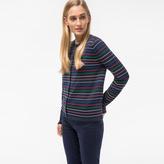 Paul Smith Women's Navy Ribbed-Stripe Cotton-Blend Cardigan