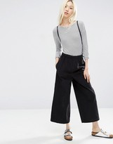 Asos Pull-On Wide Leg Pants in Charcoal Cord