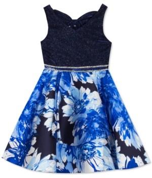 Rare Editions Little Girls Glitter & Floral-Print Skater Dress