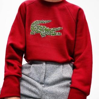 Lacoste Women's Crewneck Multi Croc Logo Fleece Sweatshirt