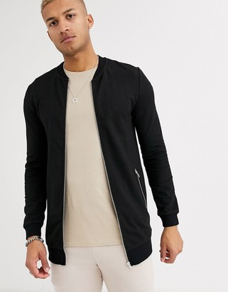 Asos Design DESIGN muscle longline jersey bomber jacket in black with silver zip pockets