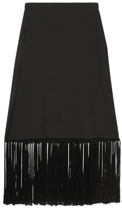 Burberry Fringed Mohair-Wool Skirt
