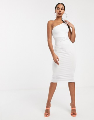 Asos Design DESIGN going out one shoulder bodycon midi dress-White