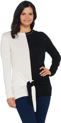 Vince Camuto Long-Sleeve Tie-Front Crewneck Sweater