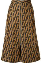 Andrea Marques printed midi flared skirt