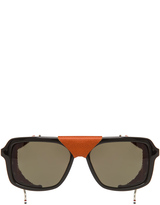 Thom Browne Leather Side Shield Square Sunglasses in Black