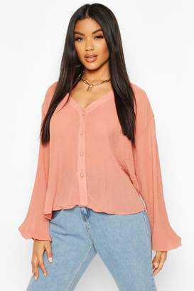 boohoo Pleated Button Through Blouse