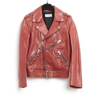 Saint Laurent Orange Leather Leather Jacket for Women