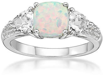 FINE JEWELRY Womens Lab Created White Opal Sterling Silver 3-Stone Cocktail Ring