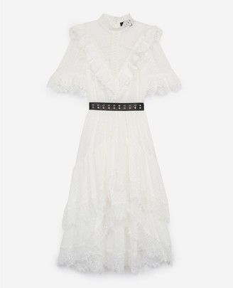 The Kooples Long lace dress with leather-effect belt