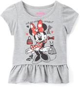 Children's Apparel Network Gray Minnie Mouse Peplum Tee - Toddler