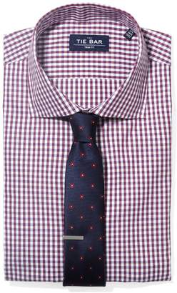 The Tie BarThe Tie Bar Wine Shadow Gingham Non-Iron Shirt