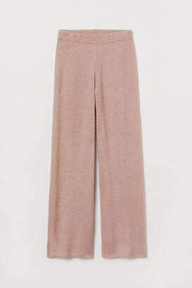 H&M Knit Wool-blend Pants - Pink