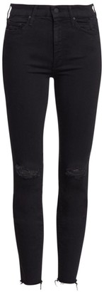Mother The Looker Mid-Rise Ankle Skinny Fray Hem Distressed Jeans