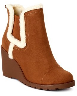 Scoop Womens Ruby Faux Sherpa Lined Wedge Booties