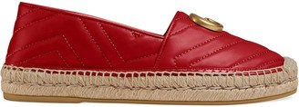 Gucci Chevron leather espadrille with Double G