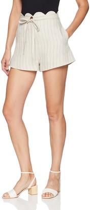 Moon River Women's Scallopped Top High Tie Waist Stripe Shorts