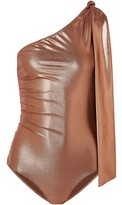Lisa Marie Fernandez Arden One-shoulder Knotted Metallic Swimsuit