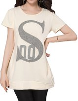 Feixiang Comfy Letter Printing Short Sleeve Pocket T-Shirt for Ladies and Girls