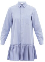 Thumbnail for your product : RED Valentino Pleated Cotton-blend Oxford Dress - Light Blue
