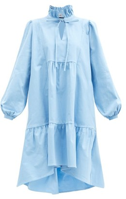 ÀCHEVAL PAMPA Campo Ruffle-neck Cotton-blend Dress - Light Blue