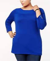 Karen Scott Plus Size Cotton Boat-Neck Sweater, Created for Macy's