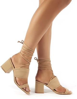 Public Desire Maddie Lace Up Mid Block Heels