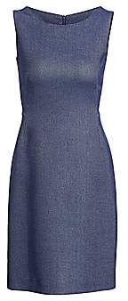 Akris Women's Sleeveless Chambray Piqué Sheath Dress