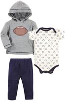 Hudson Baby Boys' Infant Bodysuits Football - Gray & Navy Football Bodysuit Set - Newborn & Infant