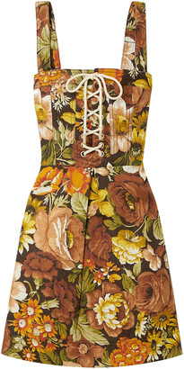 Zimmermann Bonita Lace-up Floral-print Linen Mini Dress