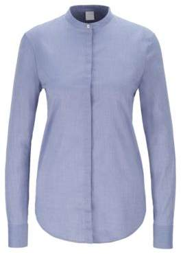 BOSS Relaxed-fit blouse in cotton-blend chambray