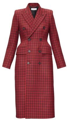 Balenciaga Hourglass Tartan Wool-twill Coat - Red Multi