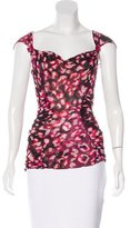Diane von Furstenberg Abstract Print Silk Top