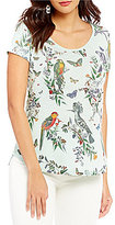Lucky Brand Short Sleeve All-Over Parrot Print Graphic Tee
