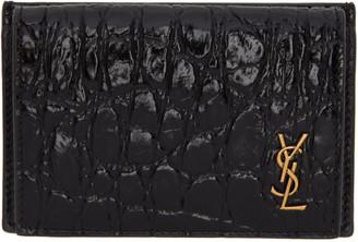 Saint Laurent Black Croc Tiny Monogramme Foldover Card Holder