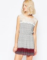 Brave Soul Print Crochet Trim Skater Dress