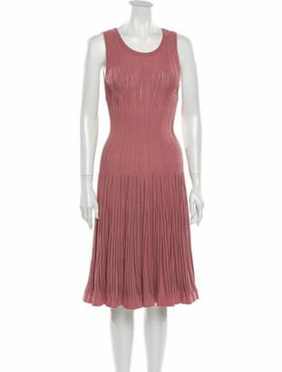 Alaia Scoop Neck Knee-Length Dress Pink