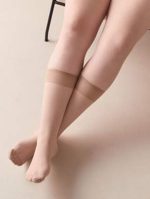 Addition Elle 3 Pairs of Solid Knee High Nylons