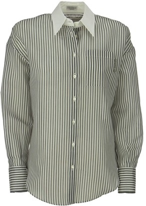 Brunello Cucinelli Cotton and silk striped gauze shirt with poplin collar and shiny tab