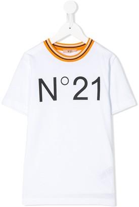 No.21 Kids crew-neck logo T-shirt